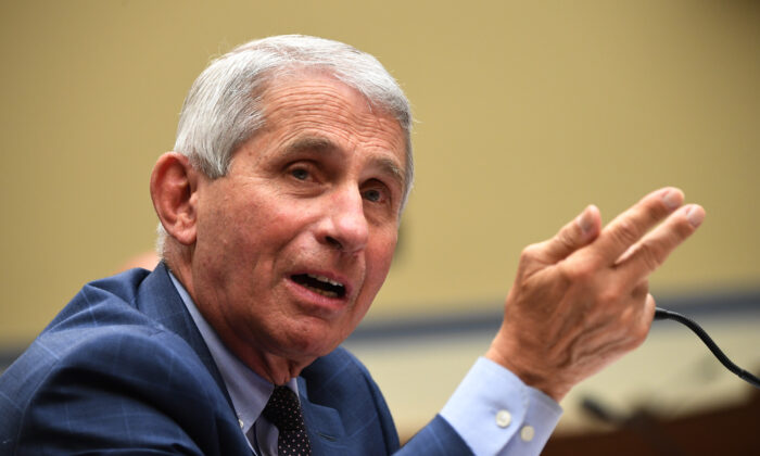 Dr. Anthony Fauci, director of the National Institute for Allergy and Infectious Diseases, testifies before a House Subcommittee on the Coronavirus Crisis hearing in Washington on July 31, 2020. (Kevin Dietsch/Pool/Getty Images)