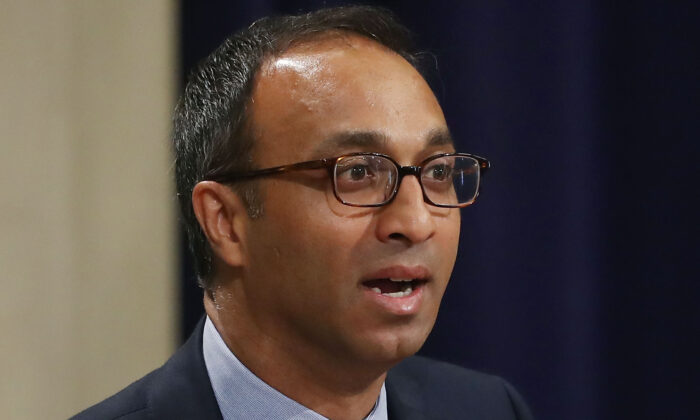 Judge Amit Mehta, of the U.S. District Court for the District of Columbia, speaks during the Justice Department's Asian American and Pacific Islander Heritage Month Observance Program, at the Justice Department in Washington on May 31, 2017.  (Mark Wilson/Getty Images)
