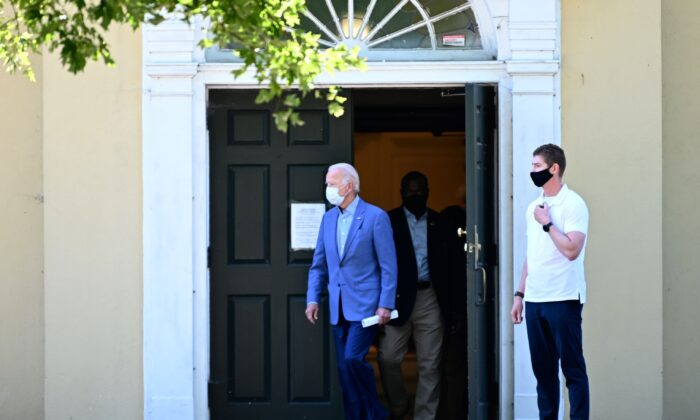 Democratic presidential candidate Joe Biden departs St. Joseph on the Brandywine Catholic Church in Wilmington, Del., on Sept. 6, 2020. (Jim Watson/AFP)