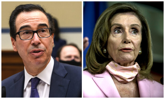 (L): Treasury Secretary Steven Mnuchin on Capitol Hill in Washington, on Sept. 1, 2020. (Nicholas Kamm-Pool/Getty Images); (R): Speaker of the House Nancy Pelosi (D-Calif.) speaks to reporters at her weekly press conference at the Capitol in Washington, on Aug. 22, 2020. (Gabriella Demczuk/Getty Images)