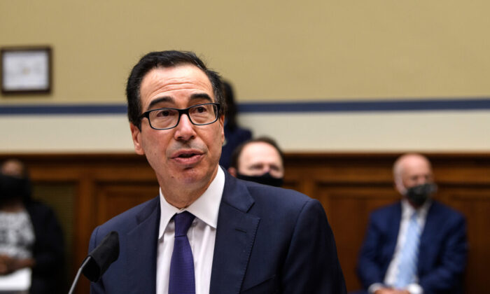 Treasury Secretary Steven Mnuchin testifies before the House Select Subcommittee on the Coronavirus Crisis on Capitol Hill in Washington, on Sept. 1, 2020. (Nicholas Kamm/Pool/Getty Images)