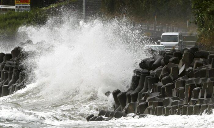 High waves pound the coast of the Kagoshima city, southwestern Japan on Sept. 6, 2020. (Takuto Kaneko/Kyodo News via AP)