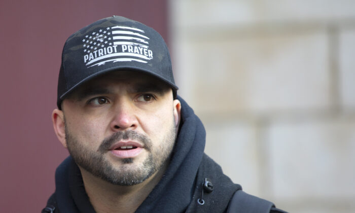 Joey Gibson, leader of the Patriot Prayer, joins other right-wing groups in a rally called United Against Hate in Seattle, Wash., on Jan. 5, 2020. (Karen Ducey/Getty Images)