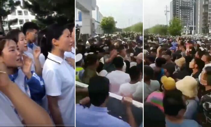 Mongolian students protest for the right to be educated in Mongolian language in Inner Mongolia, China, in August 2020. (Screenshot)