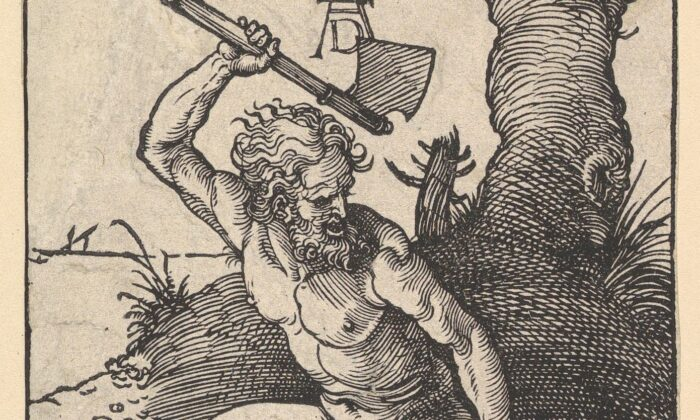 """The end times of mankind is marked by violence and falsehoods. But which came first? A detail from """"Cain Killing Abel,""""1511, by Albrecht Dürer. Woodcut. Roger's Fund, The Metropolitan Museum of Art. (Public Domain)"""""""