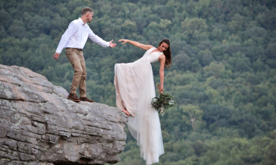 Adventure-Loving Couple Pose for a Jaw-Dropping Wedding Photoshoot at Edge of a Cliff