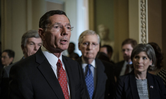 Senator John Barrasso (R-Wyo.) speaks to the media following their weekly policy luncheon in Washington, on April 30, 2019. (Pete Marovich/Getty Images)