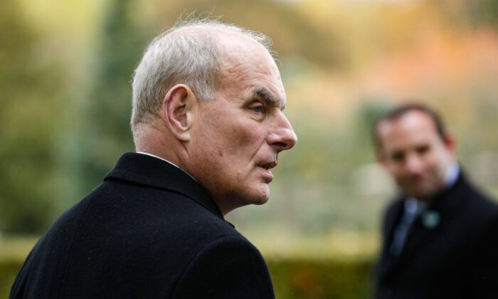 Retired United States Marine Corps general and White House Chief of Staff John F Kelly visits the Aisne-Marne American Cemetery and Memorial in Belleau, France, on Nov. 10, 2018. (Geoffroy Van Der Hasselt/AFP via Getty Images)