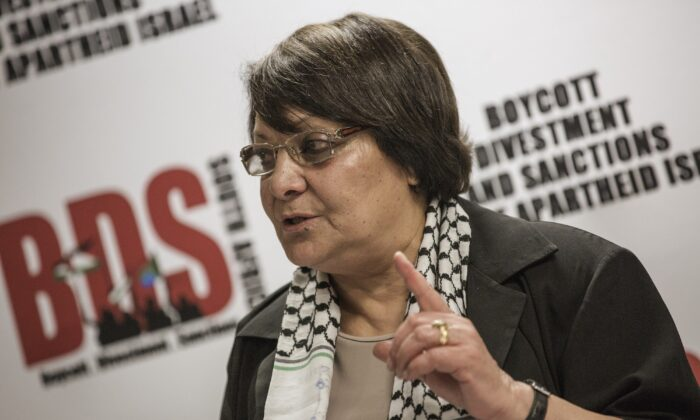 Leila Khaled speaks as she attends a press conference in Johannesburg, South Africa, on Feb. 6, 2015. (Gianluigi Guercia/AFP via Getty Images)