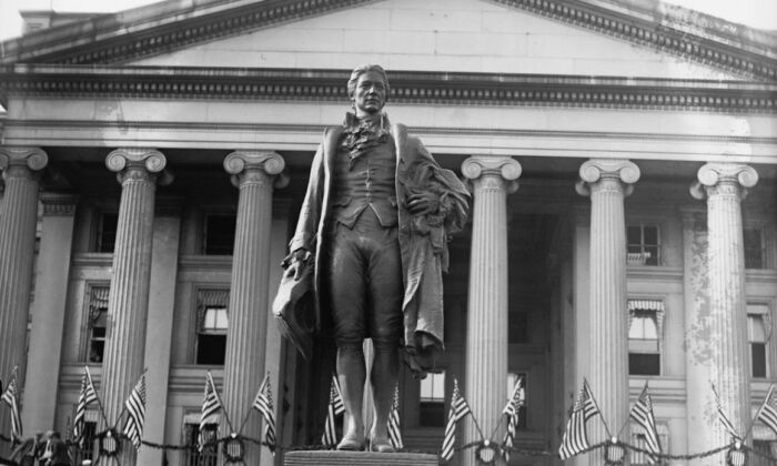 The 1923 dedication ceremony for James Earle Fraser's bronze statue of Alexander Hamilton on the south side of the Treasury Building in Washington. Library of Congress. (Public Domain)