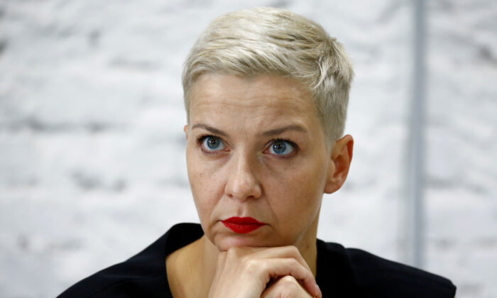 Politician and representative of the Coordination Council for members of the Belarusian opposition Maria Kolesnikova attends a news conference in Minsk on Aug. 24, 2020. (Vasily Fedosenko / Reuters)
