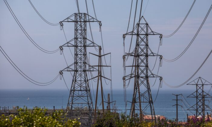 High tension towers are seen in Redondo Beach, Calif., on Aug. 16, 2020. (Apu Gomes/AFP via Getty Images)