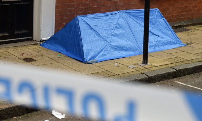 A forensics tent is seen at the junction of Church Street and Barwick Street following a major stabbing incident in the centre of Birmingham in central England on Sept. 6, 2020. (Oli Scarff/AFP via Getty Images)