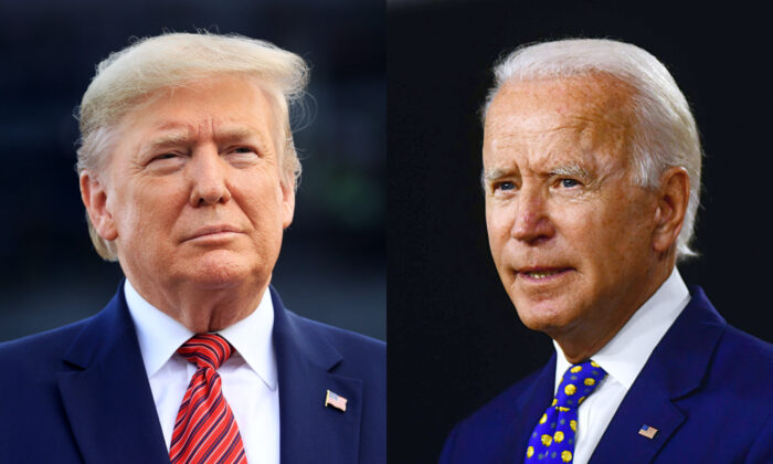 (L-R) President Donald Trump in Daytona Beach, Fla., on Feb. 16, 2020. Democratic presidential nominee Joe Biden in Wilmington, Del., on July 28, 2020. (Chris Graythen/Getty Images; Andrew Caballero-Reynolds/AFP via Getty Images)