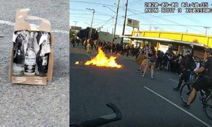 (L) An unexploded Molotov cocktail recovered from a riot in Seattle, Wash., on Sept. 7, 2020. (R) Flames are seen from a Molotov cocktail that was thrown at police officers. (Seattle Police Department)