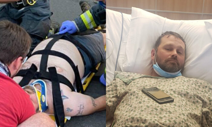 (L) Shane Moon lies on the ground after being struck by a vehicle in Vancouver, Wash., on Sept. 5, 2020. (R) Moon in the hospital recovering. (Shane was involved in a hit and run/GiveSendGo)