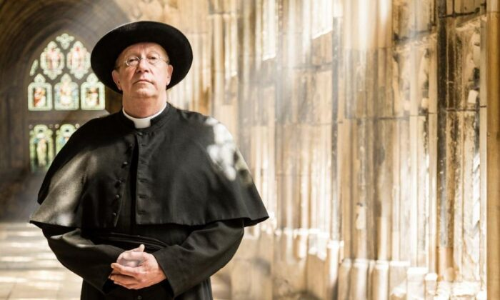 "Mark Williams as Father Brown, a Catholic priest who happens to be good at solving crimes, in the BBC TV series ""Father Brown."" (BBC)"