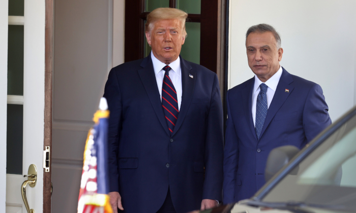 President Donald Trump (L) welcomes Iraqi Prime Minister Mustafa Al-Kadhimi to the White House August 20, 2020 in Washington. (Chip Somodevilla/Getty Images)