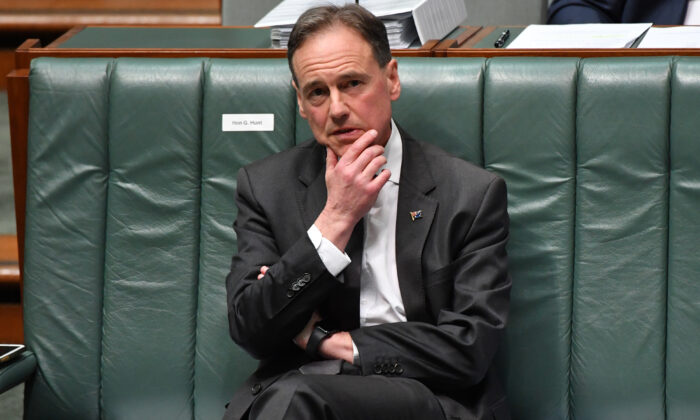 Minister for Health Greg Hunt during Question Time in the House of Representatives at Parliament House in Canberra, Australia on Aug. 26, 2020. (Sam Mooy/Getty Images)