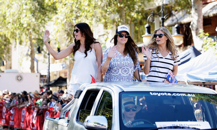 The McClymonts, Mollie McClymont, Brooke McClymont and Samantha McClymont take part in the 43rd Tamworth Country Music Festival Calvalcade along Peel Street on January 24, 2015 in Tamworth, Australia. (Lisa Maree Williams/Getty Images)