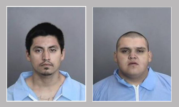 Homicide suspects Richard Arteaga, left, and Danny Quintana are seen in police file photos following their arrests for the alleged gang-related murder of Rodolfo Miranda in Anaheim, Calif., on Sept 6, 2020. (Courtesy of the Anaheim Police Department)
