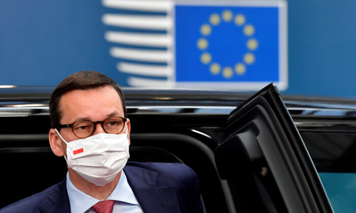 Poland's Prime Minister Mateusz Morawiecki arrives for the first face-to-face EU summit since the coronavirus disease (COVID-19) outbreak, in Brussels, Belgium, on July 19, 2020. (John Thys/Reuters)