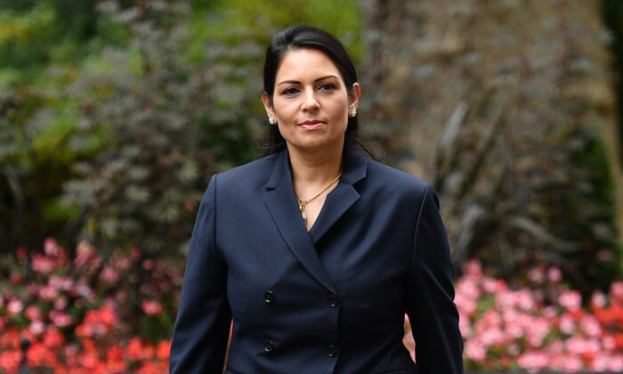 Secretary of State for the Home Department Priti Patel arrives at Downing Street in London, on Sept. 8, 2020. (Leon Neal/Getty Images)