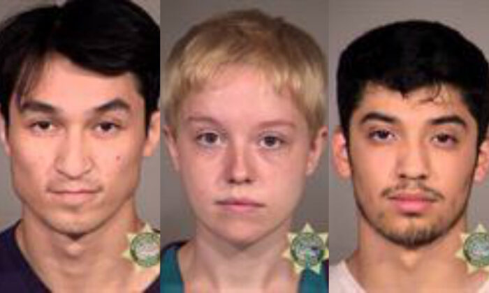 William Grant Reuland, left, Alexandra Eutin, center, and Pedro Aldo Ramos Jr. were charged with civil disorder for allegedly participating in rioting in Portland, Ore. in recent months. (Multnomah County Sheriff's Office)
