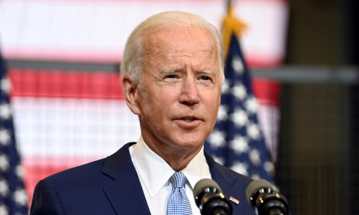 Democratic presidential nominee Joe Biden speaks during a campaign appearance in Pittsburgh, Penn., on Aug. 31, 2020.  (Alan Freed/File Photo/Reuters)