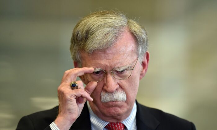 U.S. National Security Advisor John Bolton answers journalists questions after his meeting with Belarus President in Minsk on Aug. 29, 2019. (Sergei Gapon/AFP via Getty Images)