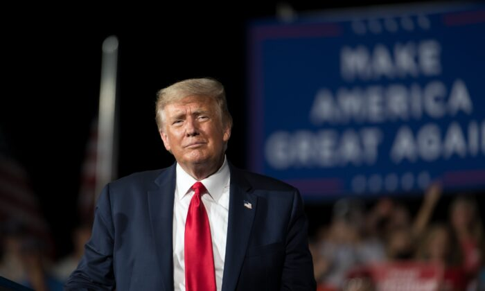 President Donald Trump addresses the crowd during a rally in Winston Salem, N.C., on Sept. 8, 2020. (Sean Rayford/Getty Images)