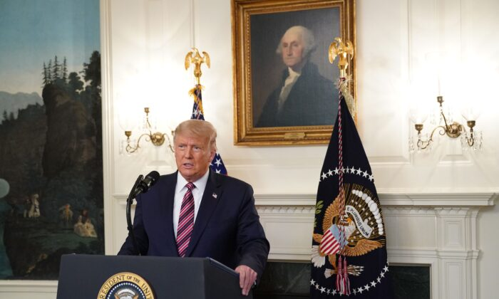 President Donald Trump unveils a list of future potential Supreme Court nominees in the Diplomatic Reception Room of the White House in Washington on Sept. 9, 2020. (Mandel Ngan/AFP via Getty Images)