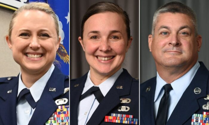 Lt. Col. Shelli Huether (L), Capt. Jessica Wright (C) and Senior Master Sgt. Scott Bumpus. (National Guard)