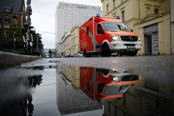 A rescue vehicle Alexei Navalny in Berlin