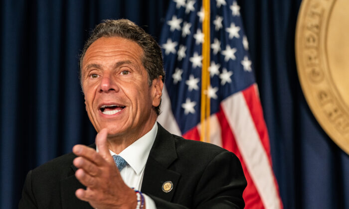 New York Gov. Andrew Cuomo speaks during a daily media briefing at the Office of the Governor of the State of New York in New York City on July 23, 2020. (Jeenah Moon/Getty Images)
