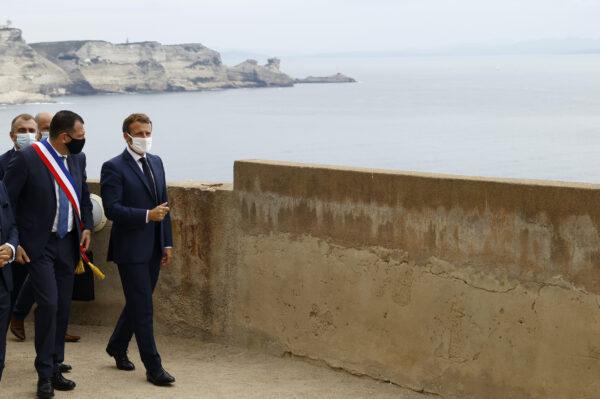 French president Emmanuel Macron and Bonifacio Mayor Jean Charles Orsucci left visit Bonifacio