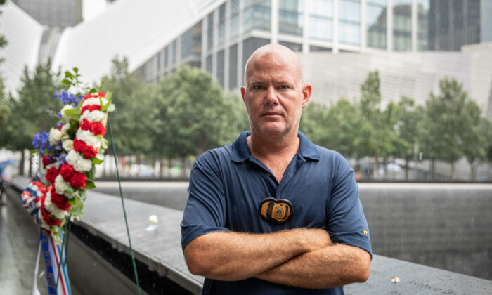 James Deboer, supervisory special agent with Homeland Security Investigations (HSI), at the World Trade Center memorial in New York City on Sept. 10, 2020. (Samira Bouaou/The Epoch Times)