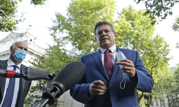 European Commission Vice President Maros Sefcovic addresses the media as he arrives at the Europa house in London, on Sept. 10, 2020. (Matt Dunham /AP Photo)