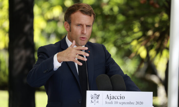 French President Emmanuel Macron gives a press conference at Corsica's prefecture in Ajaccio, Corsica island, on Sept.10, 2020. (Ludovic Marin/ AP Photo)