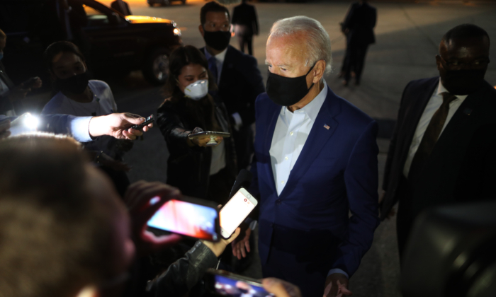 Democratic presidential nominee Joe Biden talks with journalists before departing the Detroit Metro area in Michigan on Sept. 9, 2020. (Chip Somodevilla/Getty Images)