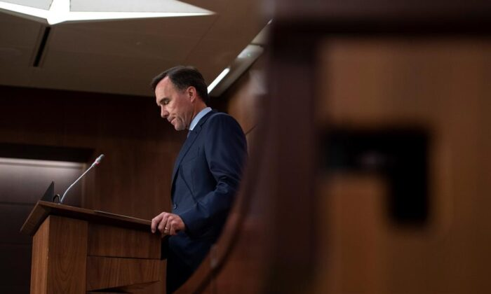 Minister of Finance Bill Morneau announces his resignation during a news conference on Parliament Hill in Ottawa, on Aug. 17, 2020. (The Canadian Press/Justin Tang)