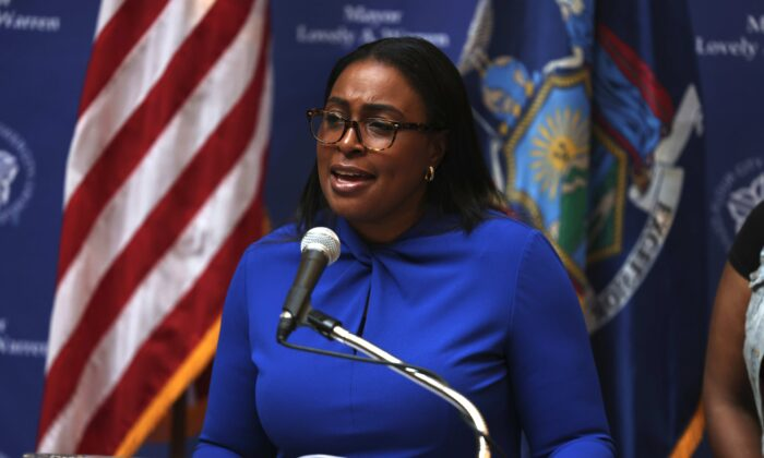 Lovely A. Warren, mayor of Rochester, speaks during a press conference on the death of Daniel Prude  in Rochester, New York, on Sept. 3, 2020. (Michael M. Santiago/Getty Images)
