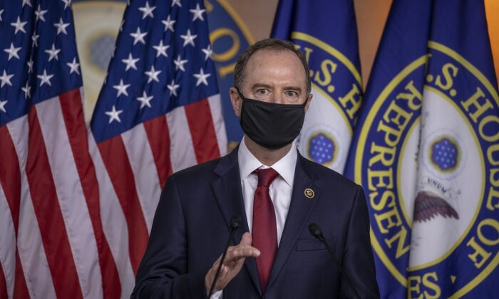 Rep. Adam Schiff (D-Calif.) speaks at a press conference on Capitol Hill in Washington on June 30, 2020. (Tasos Katopodis/Getty Images)