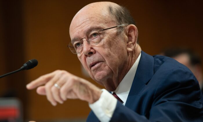 US Secretary of Commerce Wilbur Ross testifies about the fiscal year 2021 budget during a Senate Appropriations subcommittee on Commerce, Justice, Science and Related Agencies hearing on Capitol Hill in Washington on March 5, 2020. (SAUL LOEB/AFP via Getty Images)