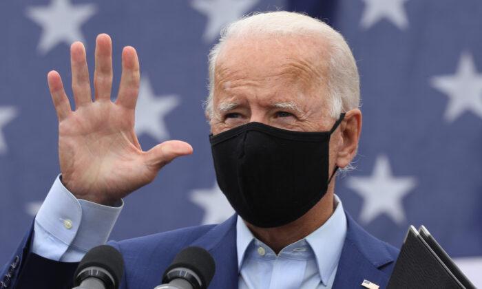 Democratic presidential nominee former Vice President Joe Biden waves after delivering remarks in Warren, Mich., on Sept. 9, 2020. (Chip Somodevilla/Getty Images)