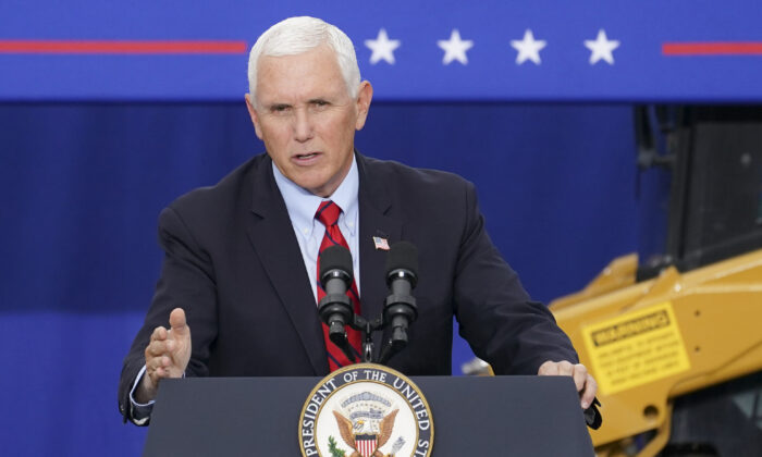 Vice President Mike Pence speaks at a campaign event in Exeter, Penn., on Sept. 1, 2020. (John Minchillo/AP Photo)