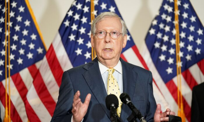 Senate Majority Leader Mitch McConnell (R-Ky.) speaks to reporters after the Senate Republican luncheon on Capitol Hill in Washington on Sept. 9 2020. (Kevin Lamarque/Reuters)