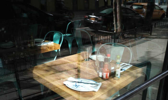 A table stands empty at a permanently closed restaurant in Manhattan in New York City on Aug. 31, 2020. (Spencer Platt/Getty Images)