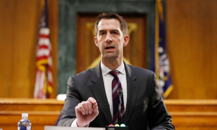Sen. Tom Cotton (R-Ark.) speaks during a hearing in Washington on May 5, 2020. (Andrew Harnik/Pool/AFP via Getty Images)