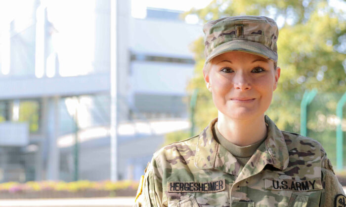 Second Lt. Stephanie Hergesheimer, 30, a medical-surgical staff nurse in the U.S. Army.  (Marcy Sanchez/DVIDSHUB)